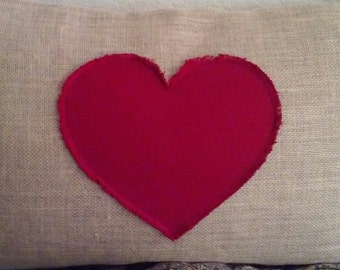 Red Heart Burlap Standard Pillow Cover with Frayed Heart 20 X 26
