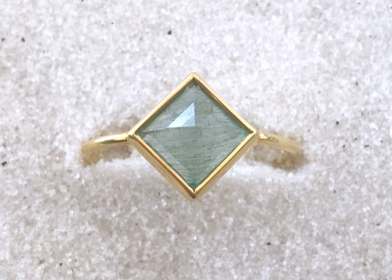 Aquamarine with tourmaline and solid 18k gold ring
