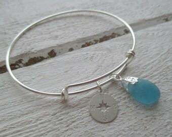 Sea Glass Sterling Silver Bangle Bracelet