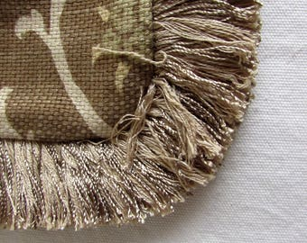 Fringed Pillow , browns and olives Pillow Cover