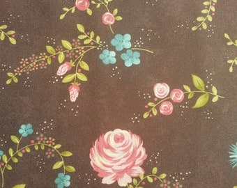 Rambling Rose  by Sands Gervais for moda pink and turquoise flowers on brown main print