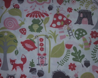 Fox Hollow, Elevandale mushrooms, foxes, stump houses on white background By Mona Luna Organic GOTS certified cotton