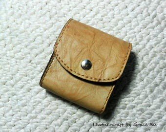 100% hand stitched handmade camel marbled pattern cowhide leather cigarette & lighter case / pouch / holder