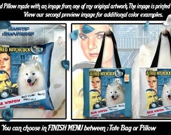 Samoyed Pillow or Tote Bag/Samoyed Art/Dog Tote Bag/Dog Pillow/Dog Art/Custom Dog Portrait/Rear Window Movie Poster