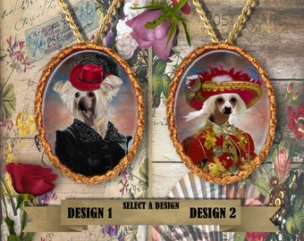 Chinese Crested Dog Jewelry/Chinese Crested Pendant or Brooch/Chinese Crested Dog Portrait/Custom Dog Jewelry by Nobility Dogs
