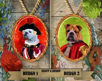English Bulldog Jewelry. Bulldog Pendant or Brooch.  Bulldog Necklace. English Bulldog Portrait. Custom Dog Jewelry. Dog Handmade Jewelry