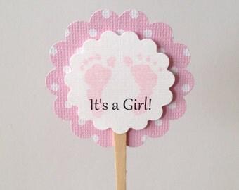 It's A Girl Cupcake Picks - Footprint Cupcake Toppers - Pink Polka Dot Baby Shower - Set of 12