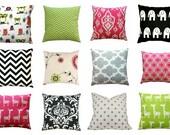 CLEARANCE Decorative Pillows, Candy Pink Pillow, Lime Green Pillow Cover, Black Toss Pillow, Hot Pink Throw Pillows, Zippered Pillow, 16x16