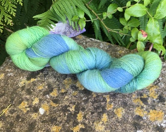 "100grms hand painted Merino /silk laceweight ""tree tops   """