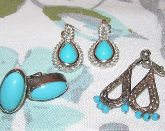 Vintage SUMMER Earrings  ~ Faux Turquoise ~ Silver Tone Metal ~ Clip-on    Three Pairs AVON