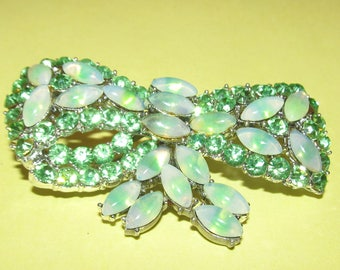 Vintage Weiss Bow Brooch~ Green Rhinestone and Opal Glass