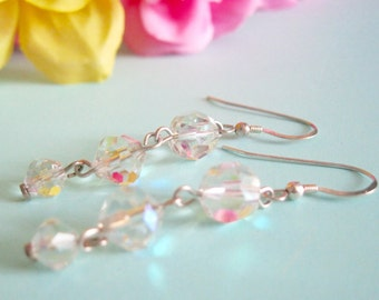 Crystal Dangle earrings Aurora Borealis Sterling Silver Bridal Jewelry Special Occasion Graduated Long Earrings Clear Glass Gifts under 25