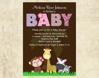 Handmade safari baby shower invitation Etsy