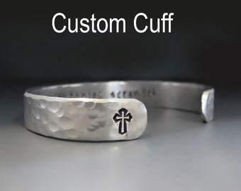 Men's Personalized 3/8 inch Wide Silver Cuff Bracelet / Custom Handstamped / Gifts for Him / Boyfriend Gifts / Anniversary / Layering Piece