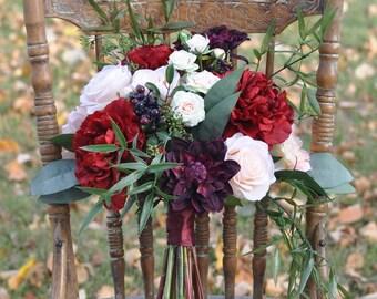 Silk Flower Bride Bouquet, Blush Dahlia and Roses, Eggplant Dahlia, Eucalyptus, Dried Flowers, Silk Flowers, Weddings, Destination Wedding.