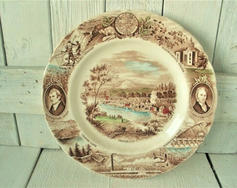 Vintage Oregon plate souvenir Johnson Brothers transferware England
