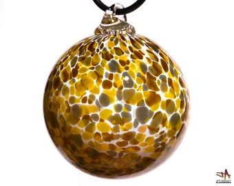 Hand Blown Glass Ornament - White with Brown Grey and Amber Dots