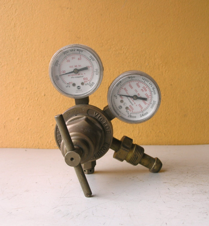 Pressure gauge steampunk dial brass psi regulator w handle - Steampunk pressure gauge ...