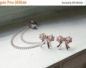 SALE Silver Bow Double Chain Cuff Earrings (Pair)