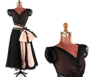 1940's Pink + Black Sheer Mesh Chiffon Floral Lace Evening Party Tea Length Prom Dress M