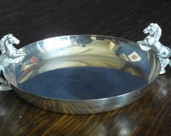 vintage horse decorated silver plate serving bowl