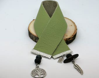 "Signet ""Yaronta""Arbre de vie, vert, cuir récupéré, cadeau professeur,code promo /bookmark tree of life, upcycled leather,teacher gift"