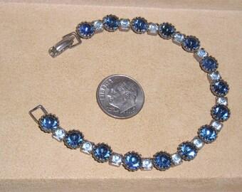 Vintage Light And Dark Blue Rhinestone Bracelet 1940's Jewelry 1017