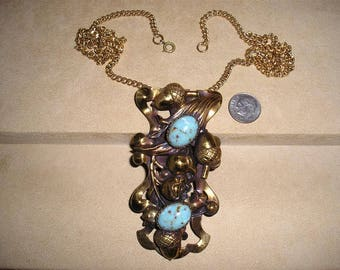 Vintage Large Metal Acorn Necklace With Faux Turquoise Cabochons 1950's Jewelry 10024