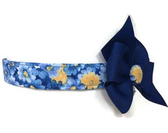 Blue and Yellow Floral Dog Collar size Medium