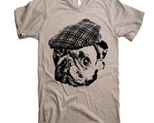 ON SALE Pug in a Newsboy Cap T Shirt - Dog Lover Pug Life Pugs Not Drugs Funny Pug Tshirt - Men Women Kids Gift Ideas Present Pugs Cute Pug