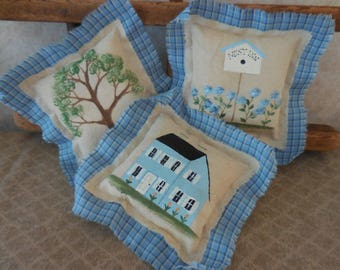 Primitive Summer Bowl Filler Tucks House Birdhouse Tree Hand Painted Folk Art