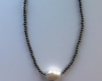 Pyrite and Pearl necklace