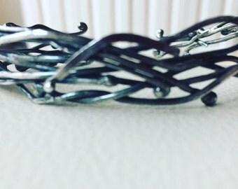 Oxidized sterling twig cuff