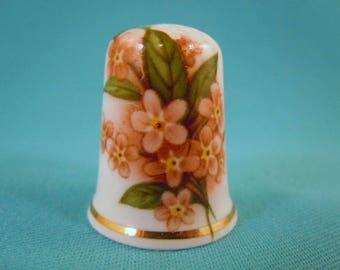 Thimble Bone China with Pink Forget-me-not Flowers