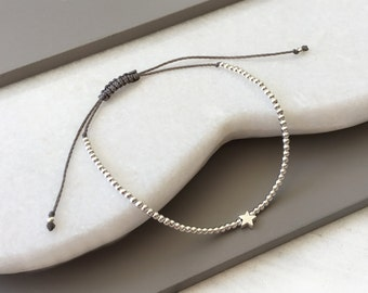 Sterling Silver - Adjustable - Beaded - Star - Corded - Friendship - Bracelet - Layering - Stack - 21 Colour Options