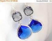 SALE Blue Earrings, Gray Earrings, Grey, Silver Blue Earrings, Dark Blue, Cobalt Blue, Wedding, Bridesmaid Earrings, Bridesmaid Gifts