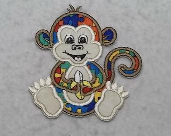 Monkey Autism Awareness Puzzle Piece (small) Tutu & Shirt Supplies - fabric iron on Applique Patch 8110