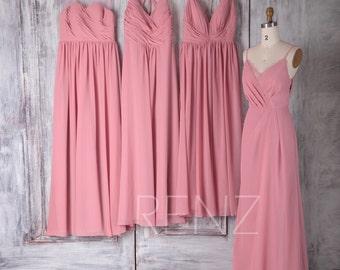 2017 Mix Match Pink Chiffon Bridesmaid Dress, Ruched Bodice Wedding Dress, Mismatch Prom Dress, A Line Maxi Dress Floor(F255/H289/J077/L136)