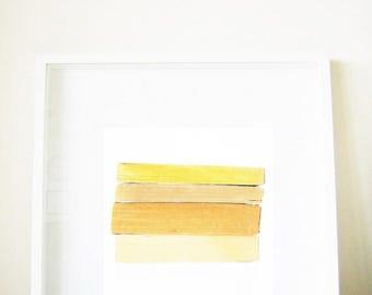 Minimalist Scandinavian Art - Honey, Toast, and Lemon Curd - book print, yellow, orange, golden, beige khaki, gold, sand, 8x8