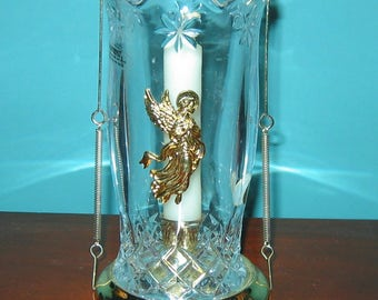 Angel Bohemian 24% Lead Crystal HURRICANE CANDLE HOLDER from Czech Republic