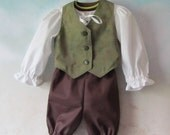 Toddler, Child's Hobbit, Woodland Costume: Fully Lined Vest, Shirt, Pants - All Cotton, Size 12 Months To Size 5, Made To Order Only