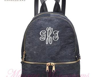 Personalized Urban Expressions Backpack Purse or Diaperbag in Black Denim