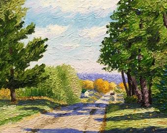 Original Impressionist style Impasto oil painting. 11x14 'Rural Route'