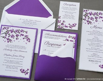 Cherry Blossoms Wedding Invitation Sample | Flat or Pocket Fold Style
