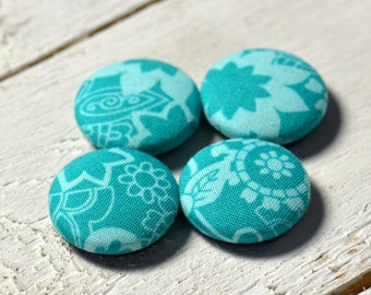 Fabric covered button magnets (4) –  Cotton Blossomy Teal pattern - Strong magnets