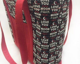 Love You Purse, Large Tote Bag, Tote and Purse, Overnight Bag, Womans Purses, Bride Tote, Weekend Bag, Gift for Mom, Free Shipping, RTS