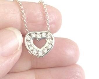 Cubic Zirconia Free Floating Channel Set Heart Sterling Silver Jewelry