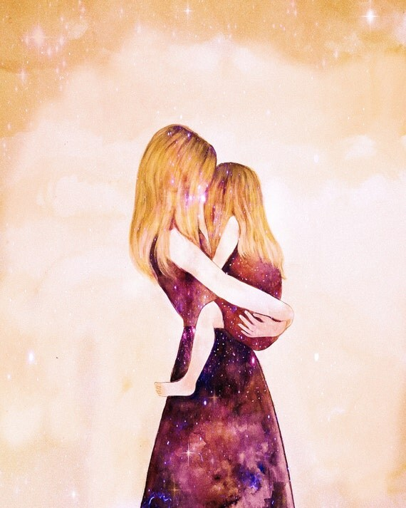 """Mother and daughter """"their world"""" blonde art print, gift idea mother's day"""