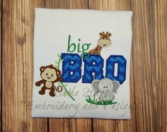 Big Bro or Big Sis with Jungle - Safari - Zoo Animals Shirt