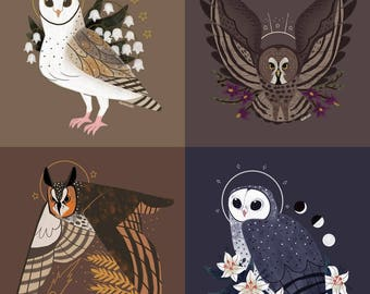 Full Set Owl Familiars Barn, Great Grey, Long Eared, Sooty CROSS STITCH PATTERNS Original Art by Callupish